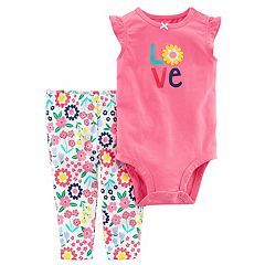 Baby Girl Carter's 'Love' Graphic Bodysuit & Floral Pants Set