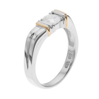 Forever Classic Men's Two Tone Sterling Silver 3/4 Carat T.W. Lab-Created Moissanite Solitaire Ring