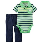 Baby Boy Carter's Striped Polo Bodysuit & French Terry Pants Set
