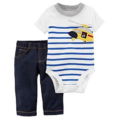 Baby Boy Carter's Striped Helicopter Bodysuit & Denim-Like Pants