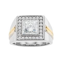 Forever Classic Men's Two Tone Sterling Silver 3 5/8 Carat T.W. Lab-Created Moissanite Halo Ring