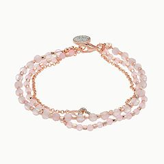 love this life Rose Quartz 3-Strand Heart Charm Bracelet