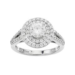 Forever Classic Sterling Silver 1 3/8 Carat T.W. Lab-Created Moissanite Double Halo Engagement Ring