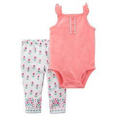 Baby Girl Carter's Flutter Button Bodysuit & Leggings Set