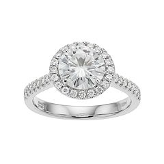 Forever Brilliant 14k White Gold 2 1/4 Carat T.W. Lab-Created Moissanite Halo Engagement Ring