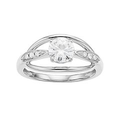Forever Brilliant 14k White Gold 7/8 Carat T.W.  Lab-Created Moissanite Ring