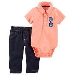 Baby Boy Carter's Sunglasses Polo Bodysuit & Faux-Denim Pants Set