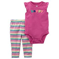 Baby Girl Carter's 'Happy Girl' Embroidered Bodysuit & Striped Leggings Set