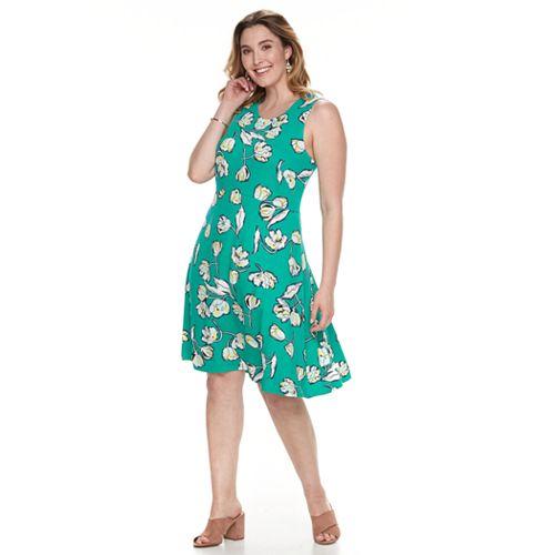 Plus Size Apt 9 Lace Trim Fit Flare Dress
