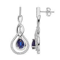 Sterling Silver Lab-Created Sapphire & Cubic Zirconia Teardrop Earrings