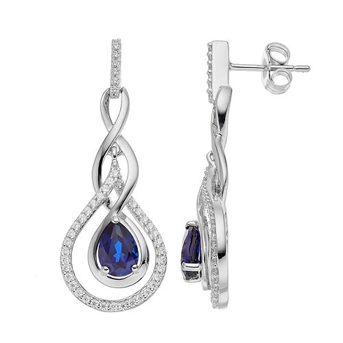 Sterling Silver Lab-Created Sapphire & Cubic Zirconia Teardrop Earrings
