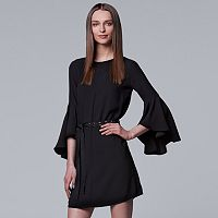 Petite Simply Vera Vera Wang Bell-Sleeve Black Dress