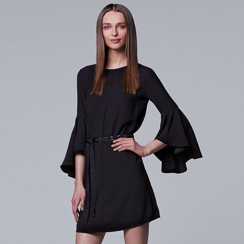 Petite Simply Vera Vera Wang Bell Sleeve Black Dress
