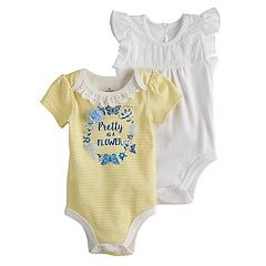 Baby Girl Baby Starters 2 pkEmbroidered Eyelet & Striped Graphic Bodysuits