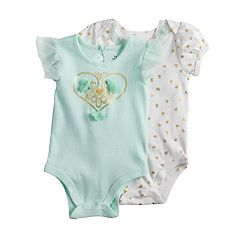 Baby Girl Baby Starters 2-pk. Foiled Graphic & Heart Print Bodysuits