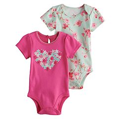 Baby Girl Baby Starters 2-pk. Heart Graphic & Floral Print Bodysuits