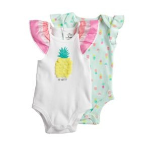 Baby Girl Baby Starters 2-pk. Pineapple Graphic & Print Bodysuits