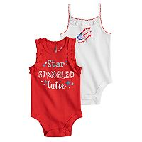 Baby Girl Baby Starters 2-pk. American Flag Graphic & Glittery Slogan Bodysuits