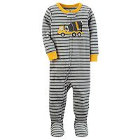 Toddler Boy Carter's Construction Truck Striped Footed Pajamas
