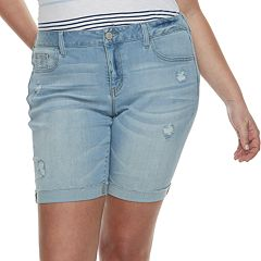 Juniors' Plus Size SO® Roll Cuff Bermuda Shorts