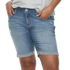 Juniors' Plus Size SO® Roll Cuff Bermuda Shorts