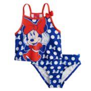 Disney's Minnie Mouse Toddler Girl Polka-Dot Tankini & Bikini Bottoms Swimsuit Set