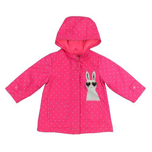 Baby Girl Carter's Lightweight Polka-Dot Bunny Rain Jacket