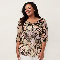 Plus Size LC Lauren Conrad Printed Chiffon Peasant Top
