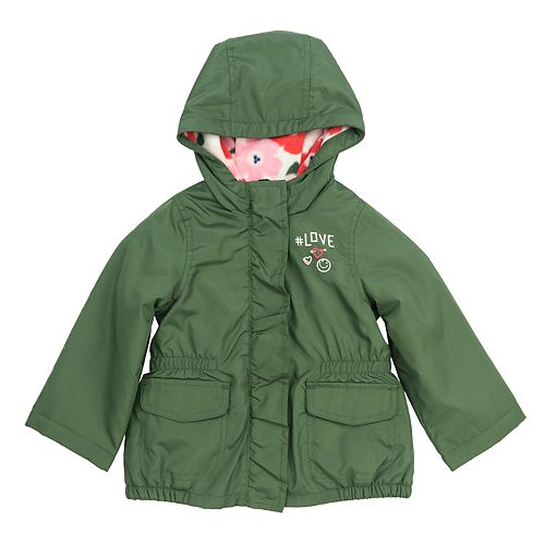 Baby Girl Carter's Midweight Olive Fleece-Lined Anorak Jacket