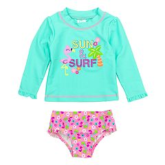 Toddler Girl Kiko & Max 'Sun & Surf' Flamingo & Palm Tree Rashguard Top & Floral Bottoms Swimsuit Set