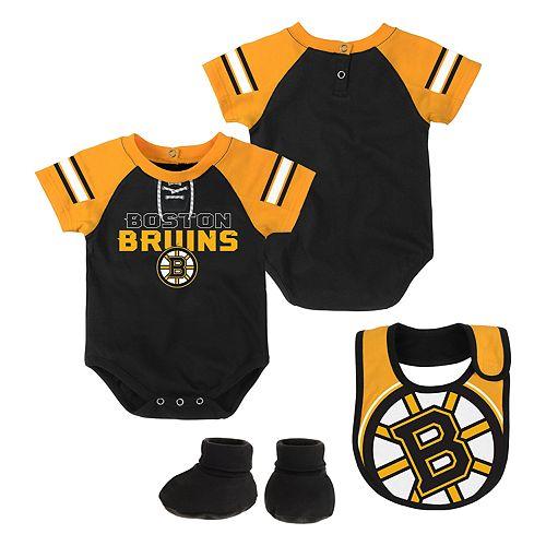 Baby Boston Bruins 3-Piece Bodysuit, Bib & Booties Set