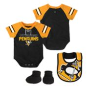 Baby Pittsburgh Penguins 3-Piece Bodysuit, Bib & Booties Set