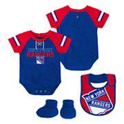 Baby New York Rangers 3 pc Bodysuit, Bib & Booties Set