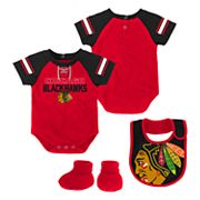 Baby Chicago Blackhawks 3 pc Bodysuit, Bib & Booties Set