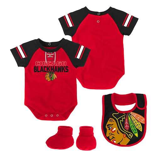 Baby Chicago Blackhawks 3-Piece Bodysuit, Bib & Booties Set