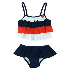 Toddler Girl Kiko & Max Americana Red White & Blue Tiered Tankini & Bottoms Swimsuit Set