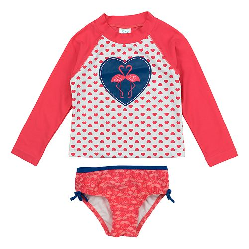 Toddler Girl Kiko & Max Kissing Flamingos & Heart Rashguard Top & Floral Bottoms Swimsuit Set