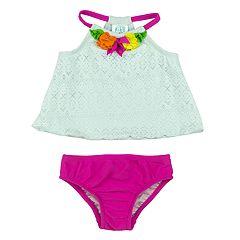 Toddler Girl Kiko & Max Lace & Floral Tankini Top & Bottoms Swimsuit Set