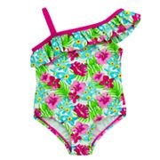 Toddler Girl Kiko & Max Tropical Flower Print Ruffle Asymmetrical One-Piece Swimsuit