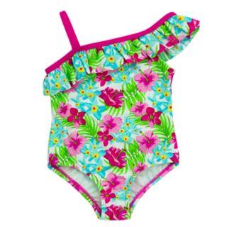 Toddler Girl Kiko & Max Tropical Flower Print Ruffle Asymmetrical One-Piece Swimsuit