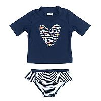 Baby Girl Kiko & Max Fish Heart Rashguard & Bottoms Swimsuit Set