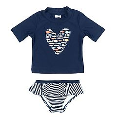 Baby Girl Kiko & Max Fish Heart Rashguard & Bottoms Swimsuit Set