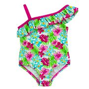 Baby Girl Kiko & Max Floral Asymmetrical One-Piece Swimsuit