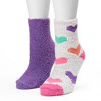 Women's SO® 2-pk. Candy Hearts Fuzzy Crew Socks
