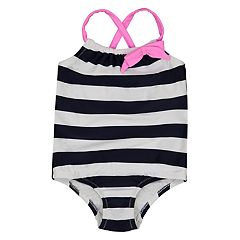 Baby Girl Kiko & Max Nautical Striped Swimsuit