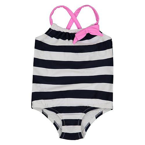Baby Girl Kiko & Max Striped One-Piece Swimsuit
