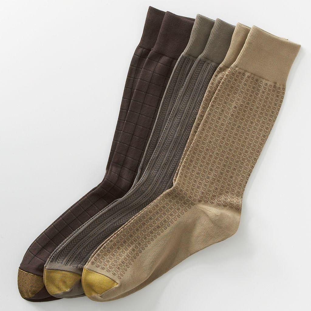 Men's GOLDTOE 3-pk. Patterned Microfiber Dress Socks