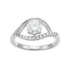 Forever Brilliant 14k White Gold 9/10 Carat T.W. Lab-Created Moissanite Ring