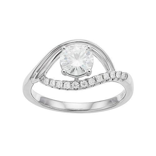 Forever Brilliant 14k White Gold 9/10 Carat T.W. Lab-Created Moissanite Ring