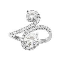 Forever Brilliant 14k White Gold 1 3/4 Carat T.W. Lab-Created Moissanite 2-Stone Ring